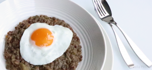 Sweet and Sour Lentils, with fried egg